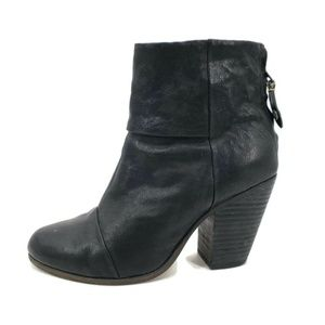 Rag & Bone Black Leather Newbury Ankle Boots